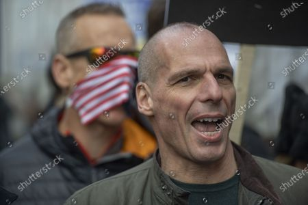 Former Greek Minister of Finance and co-Founder DiEM25 Yanis Varoufakis during the Dont Extradite Assange protest outside the Australia House in London