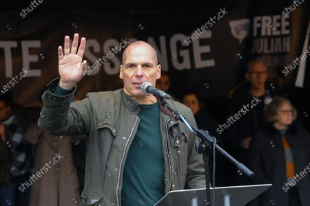 Greek economist Yanis Varoufakis speaking at a 'Don't Extradite Julian Assange' protest rally in Parliament Square in London, Britain, 22 February 2020. Wikileaks founder Julian Assange's extradition trial is scheduled to begin on 24 February.