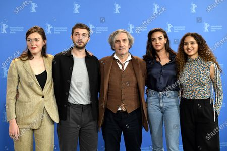 Louise Chevillotte, Logann Antuofermo, Philippe Garrel, Souheila Yacoub and Oulaya Amamra pose during the 'Le Sel Des Larmes (The Salt of Tears)' photocall during the 70th annual Berlin International Film Festival (Berlinale), in Berlin, Germany, 22 February 2020. The movie is presented in the Official Competition at the Berlinale that runs from 20 February to 01 March 2020.