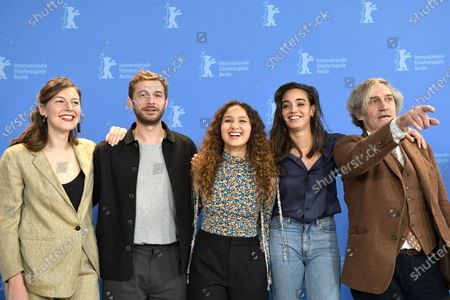 L-R) Louise Chevillotte, Logann Antuofermo,  Souheila Yacoub, Oulaya Amamra and Philippe Garrel pose during the 'Le Sel Des Larmes (The Salt of Tears)' photocall during the 70th annual Berlin International Film Festival (Berlinale), in Berlin, Germany, 22 February 2020. The movie is presented in the Official Competition at the Berlinale that runs from 20 February to 01 March 2020.