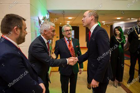Prince William meets WRU Chairman Gareth Davies.