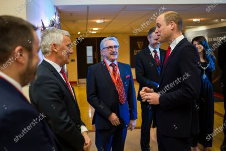 Prince William meets WRU President Gerald Davies.