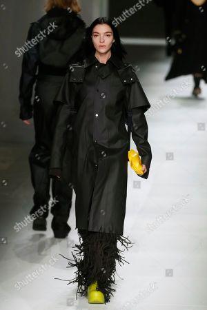 Model Mariacarla Boscono wears a creation as part of the Bottega Veneta Fall/Winter 2020 collection, presented in Milan, Italy