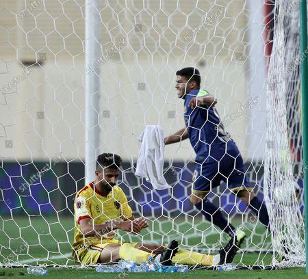 Stock Image of Al-Nassr's Yahya Al Shehri celebrates after scoring a goal during the Saudi Professional League soccer match between Al-Hazm and Al-Nassr at Al-Hazm Club Stadium, Ar-Rass, Saudi Arabia, 22 February 2020.