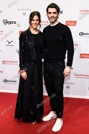 Anne Schaefer (L) and Nik Xhelilaj arrive for the reception of the Medienboard Berlin-Brandenburg (MBB) during the 70th annual Berlin International Film Festival (Berlinale), in Berlin, Germany, 22 February 2020. The Berlinale runs from 20 February to 01 March 2020.