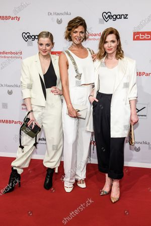 Jella Haase, Jessica Schwarz and Karoline Herfurth arrive for the reception of the Medienboard Berlin-Brandenburg (MBB) during the 70th annual Berlin International Film Festival (Berlinale), in Berlin, Germany, 22 February 2020. The Berlinale runs from 20 February to 01 March 2020.