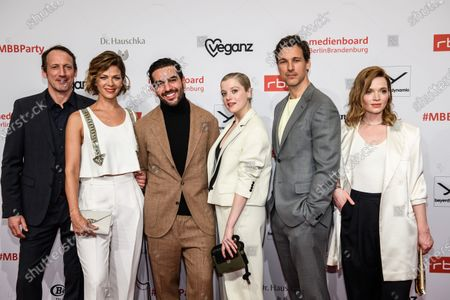 Stock Image of Wotan Wilke Moehring, Jessica Schwarz, Elyas M'Barek, Jella Haase, Florian David Fitz and Karoline Herfurth arrive for the reception of the Medienboard Berlin-Brandenburg (MBB) during the 70th annual Berlin International Film Festival (Berlinale), in Berlin, Germany, 22 February 2020. The Berlinale runs from 20 February to 01 March 2020.