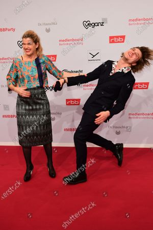 Anke Engelke (L) and Jonas Dassler arrive for the red carpet of the reception of the Medienboard Berlin-Brandenburg (MBB) during the 70th annual Berlin Film Festival, in Berlin, Germany, 22 February 2020. The Berlinale runs from 20 February to 01 March 2020.