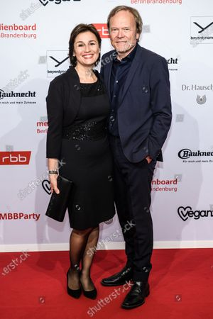 Sandra Maischberger (L) and Jan Kerhart arrive for the reception of the Medienboard Berlin-Brandenburg (MBB) during the 70th annual Berlin International Film Festival (Berlinale) in Berlin, Germany, 22 February 2020. The Berlinale runs from 20 February to 01 March 2020.
