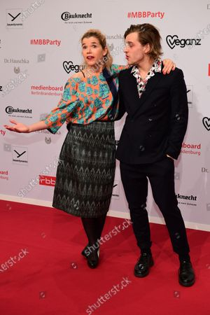 Stock Photo of Anke Engelke (L) and Jonas Dassler arrive for the red carpet of the reception of the Medienboard Berlin-Brandenburg (MBB) during the 70th annual Berlin Film Festival, in Berlin, Germany, 22 February 2020. The Berlinale runs from 20 February to 01 March 2020.