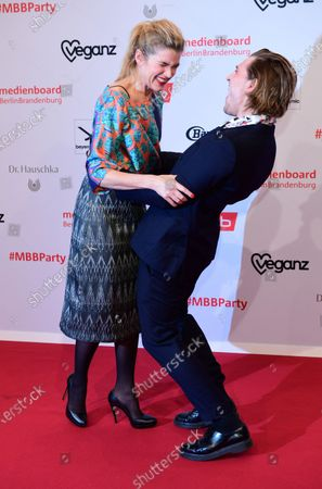 Anke Engelke (L) and Jonas Dassler arrive for the reception of the Medienboard Berlin-Brandenburg (MBB) during the 70th annual Berlin International Film Festival (Berlinale), in Berlin, Germany, 22 February 2020. The Berlinale runs from 20 February to 01 March 2020.