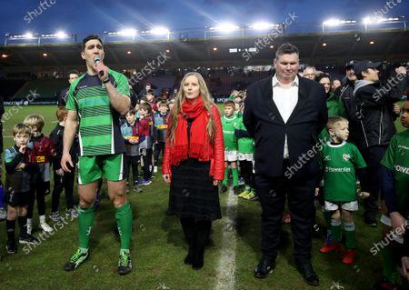England vs Ireland. Ireland's Kelly Brown singing Flower of Scotland