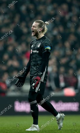 Besiktas' goalkeeper Loris Karius reacts during the Turkish Super League match between Besiktas and Trabzonspor  in Istanbul, Turkey, 22 February 2020.