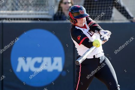Stock Picture of Lamar's Taylor Murphy connects for a hit against Northern Colorado during an NCAA softball game, in Beaumont, Texas