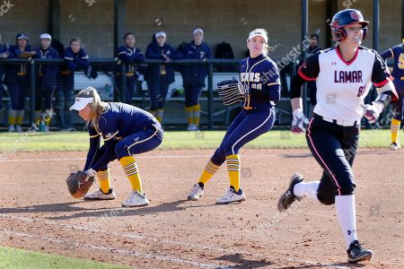 Stock Picture of Dani Young, Maggie Thurston Jade Lewis. Northern Colorado infielder Dani Young, left, fields the bunt by Lamar's Jade Lewis (81) in front of pitcher Maggie Thurston (99) during an NCAA softball game, in Beaumont, Texas
