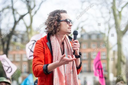 Scottish Actor Robert Sheehan talks during the 'Enough is enough, Together we march'