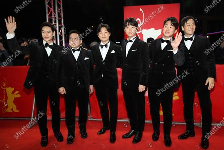 Lee Je-hoon, Handae Rhee, director Yoon Sung-hyun, Park Jeong-min, Ahn Jae-hong, and Park Heo-soo arrive for the premiere of 'Sa-Nyang-Eui-Si-Gan (Time to Hunt)' during the 70th annual Berlin International Film Festival (Berlinale), in Berlin, Germany, 22 February 2020. The movie is presented in the Berlinale Special section at the Berlinale that runs from 20 February to 01 March 2020.