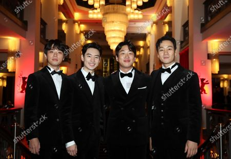 Park Jeong-min, Lee Je-hoon, Ahn Jae-hong, and Park Heo-soo arrive for the premiere of 'Sa-Nyang-Eui-Si-Gan (Time to Hunt)' during the 70th annual Berlin International Film Festival (Berlinale), in Berlin, Germany, 22 February 2020. The movie is presented in the Berlinale Special section at the Berlinale that runs from 20 February to 01 March 2020.