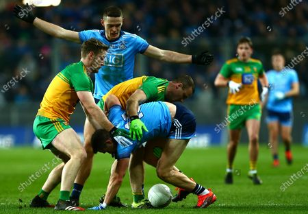 Dublin vs Donegal. Dublin's Brian Fenton and Dean Rock with Donegal's Hugh McFadden and Neil McGee