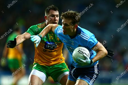 Dublin vs Donegal. Dublin's Michael Fitzsimons with Donegal's Paul Brennan.