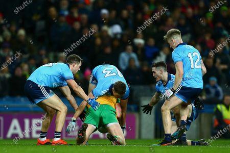 Dublin vs Donegal. Dublin's Dean Rock, Paul Mannion, Brian Fenton and Sean Bulger tackle Donegal's Hugh McFadden
