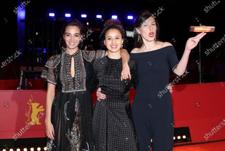 Souheila Yacoub, Oulaya Amamra, and Louise Chevillotte arrive for the premiere of 'Le Sel Des Larmes (The Salt of Tears)' during the 70th annual Berlin International Film Festival (Berlinale), in Berlin, Germany, 22 February 2020. The movie is presented in the Official Competition at the Berlinale that runs from 20 February to 01 March 2020.