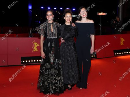 Stock Photo of Souheila Yacoub, Oulaya Amamra, and Louise Chevillotte arrive for the premiere of 'Le Sel Des Larmes (The Salt of Tears)' during the 70th annual Berlin International Film Festival (Berlinale), in Berlin, Germany, 22 February 2020. The movie is presented in the Official Competition at the Berlinale that runs from 20 February to 01 March 2020.