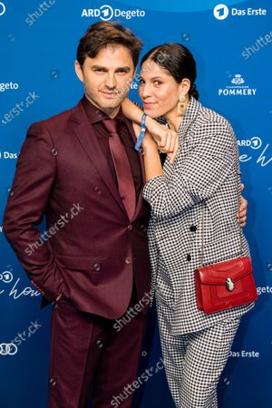 Lenn Kudrjawizki (L) and Jasmin Gerat (R) attend the ARD Blue Hour reception during the 70th annual Berlin International Film Festival (Berlinale), in Berlin, Germany, 21 February 2020. The Berlinale runs from 20 February to 01 March 2020.