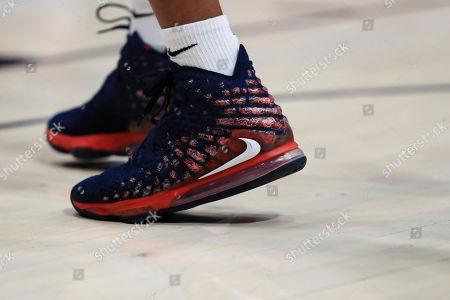 A view of the Nike LeBron James shoes worn by a member of Duquesne in the first half of an NCAA college basketball game against Dayton, in Dayton, Ohio. Dayton won 80-70