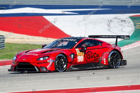 TF SPORT Salih Yoluc (Driver 1), Charles Eastwood (Driver 2), and Jonathan Adam (Driver 3) LMGTE AM #90 with the Aston Martin Vantage AMR at Practice 1-FIA WEC Lone Star Le Mans, Circuit of The Americas in Austin, Texas
