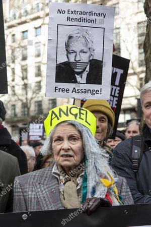 Don't Extradite Assange' protest march in London, Vivienne Westwood attends the 'Don't Extradite Assange' protest march from Australia House to Parliament Square in London. Participants include former Greek Minister of Finance and co-Founder DiEM25 Yanis Varoufakis, co-founder of Pink Floyd Roger Waters, Brian Eno, Chrissie Hynde, and fashion designer Vivienne Westwood.