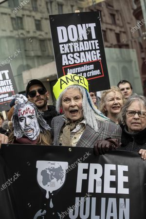 Stock Photo of Don't Extradite Assange' protest march in London, Vivienne Westwood attends the 'Don't Extradite Assange' protest march from Australia House to Parliament Square in London. Participants include former Greek Minister of Finance and co-Founder DiEM25 Yanis Varoufakis, co-founder of Pink Floyd Roger Waters, Brian Eno, Chrissie Hynde, and fashion designer Vivienne Westwood.