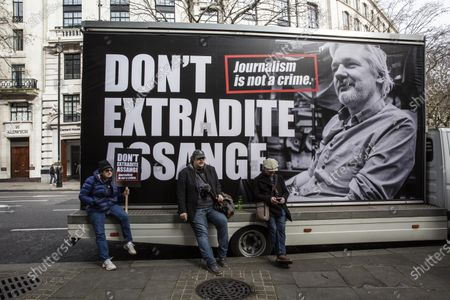Editorial photo of Don't Extradite Assange protest, London, UK - 22 Feb 2020