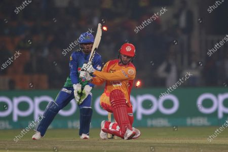 Colin Munro of Islamabad United is bowled by Shahid Afridi of Multan Sultans, during Pakistan Super League (PSL) T20 series match, in Lahore, Pakistan, 22 February 2020.