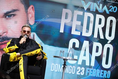 Puerto Rican singer Pedro Capo during a press conference, one day before the start of the International Song Festival of Viña del Mar, in the coastal city of Viña del Mar, Chile, 22 February 2020.