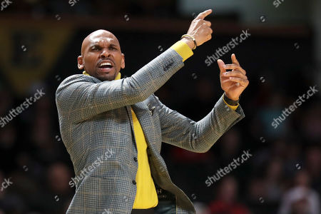 Vanderbilt head coach Jerry Stackhouse yells to his players in the first half of an NCAA college basketball game against Georgia, in Nashville, Tenn
