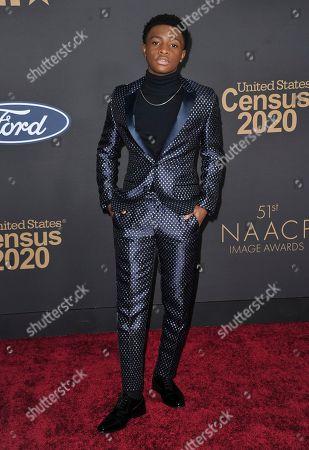 Caleel Harris arrives at the 51st NAACP Image Awards at the Pasadena Civic Auditorium, in Pasadena, Calif