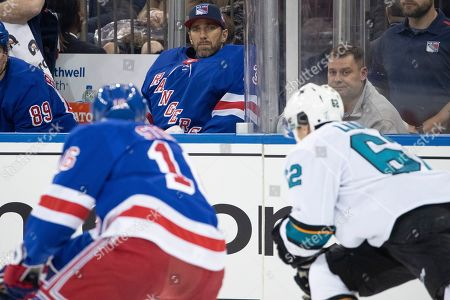 Pete Buttigieg, Henrik Lundqvist. New York Rangers goaltender Henrik Lundqvist (30) watches from the bench during the second period of the team's NHL hockey game against the San Jose Sharks, at Madison Square Garden in New York