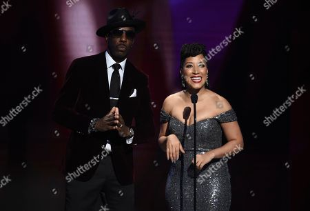 Stock Photo of J.B. Smoove, Robin Thede. J.B. Smoove, left, and Robin Thede speak on stage at the 51st NAACP Image Awards at the Pasadena Civic Auditorium, in Pasadena, Calif