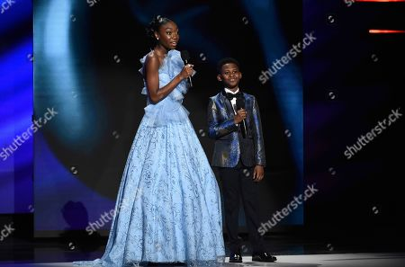 "Shahadi Wright Joseph, Evan Alex. Shahadi Wright Joseph, left, and Evan Alex introduce a clip from the movie ""US"" at the 51st NAACP Image Awards at the Pasadena Civic Auditorium, in Pasadena, Calif"
