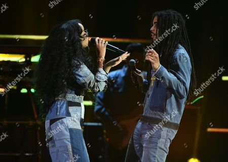 Skip Marley, H.E.R. H.E.R, left, and Skip Marley perform at the 51st NAACP Image Awards at the Pasadena Civic Auditorium, in Pasadena, Calif