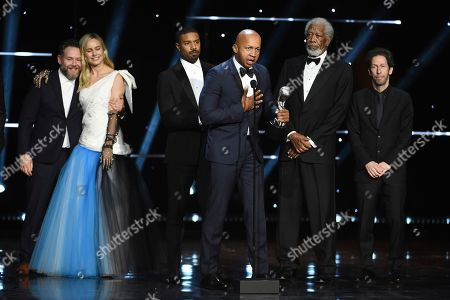 "Asher Goldstein, Brie Larson, Michael B. Jordan, Bryan Stevenson, Morgan Freeman, Tim Blake Nelson. Asher Goldstein, from left, Brie Larson, Michael B. Jordan, Bryan Stevenson and Tim Blake Nelson accept the award for outstanding motion picture for ""Just Mercy"" at the 51st NAACP Image Awards at the Pasadena Civic Auditorium, in Pasadena, Calif. Morgan Freeman, second from right, looks on"