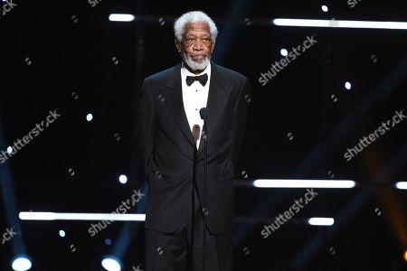 Morgan Freeman speaks on stage at the 51st NAACP Image Awards at the Pasadena Civic Auditorium, in Pasadena, Calif