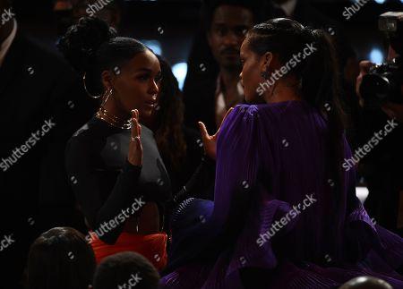 Janelle Monae, Rihanna. Janelle Monae, left, and Rihanna speak together at the 51st NAACP Image Awards at the Pasadena Civic Auditorium, in Pasadena, Calif