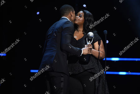 """Michael B. Jordan, Octavia Spencer. Octavia Spencer, right, presents Michael B. Jordan with the award for outstanding actor in a motion picture for """"Just Mercy"""" at the 51st NAACP Image Awards at the Pasadena Civic Auditorium, in Pasadena, Calif"""