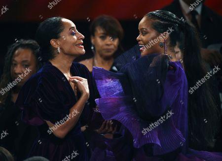 Tracee Ellis Ross, Rihanna. Tracee Ellis Ross, left, talks with Rihanna at the 51st NAACP Image Awards at the Pasadena Civic Auditorium, in Pasadena, Calif