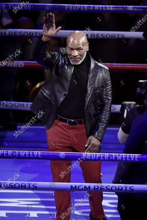 Former Heavyweight Champion Mike Tyson waves at the crowd before the WBC World Heavyweight Championship title fight between Deontay Wilder of the USA versus Tyson Fury of Great Britain at the Garden Arena in Las Vegas, Nevada, USA, 22 February 2020.
