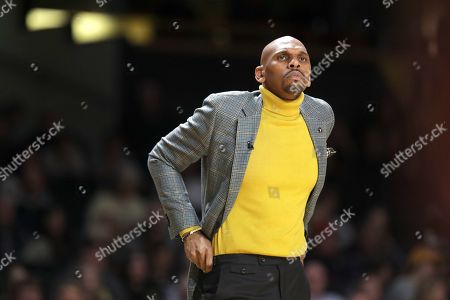 Vanderbilt head coach Jerry Stackhouse watches the action in the first half of an NCAA college basketball game against Georgia, in Nashville, Tenn