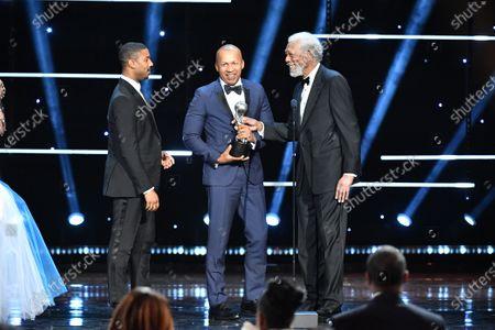Michael B. Jordan, Bryan Stevenson and Morgan Freeman