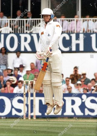 Mike Atherton Jumps To Avoid A Rising Ball From Merv Hughes On His Way To 50 Against Australia At The Oval Today.